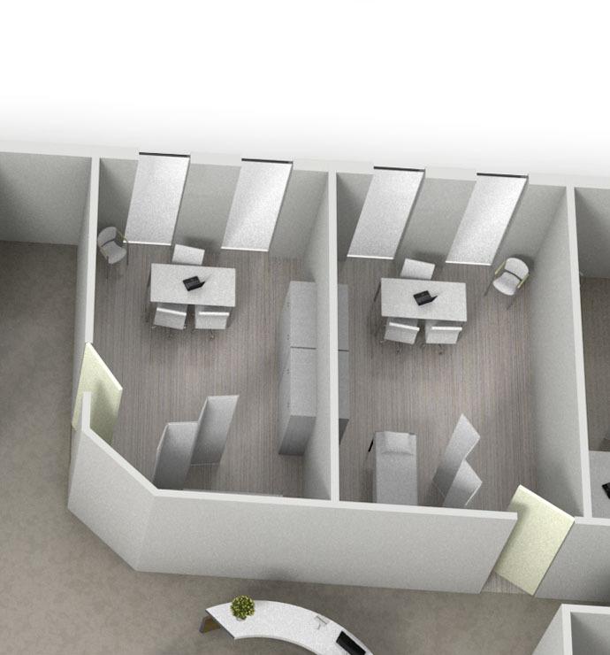 Undersøgelsesrum, operationsstuer, laboratorium, røntgen, intensivafdeling
